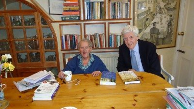 Nicholas Hagger with Asa Briggs (then 93) in Lewes on 24 April 2015, with copies of My Double Life 1: This Dark Wood and Secret Days on the table